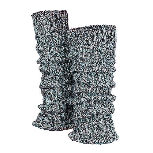 Tobeni 1 Par de Calentadores de Piernas de las Mujer de Invierno cálido Cuello Legwarmer Lana Color Multicolor-Azul Tamaño Talla única