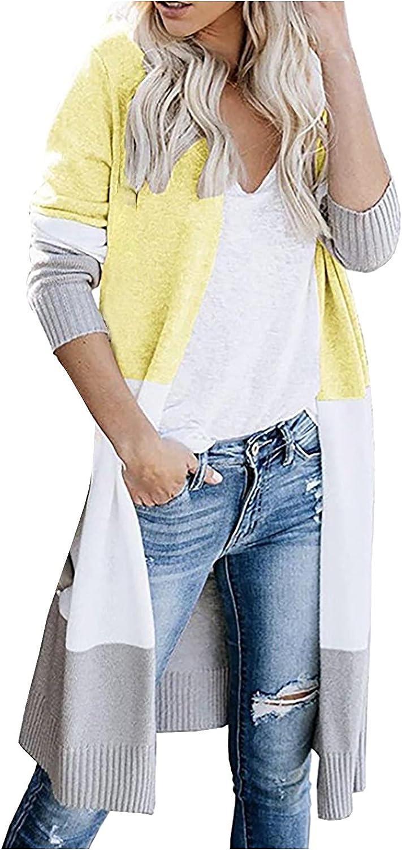 YQRDSHJS Plus Size Women Open Front Cardigan Sweaters Pockets Long Sleeve Shrugs Split Casual Loose Outerwear