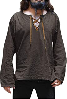 OMINA Mens Gothic Linen Shirts Long Sleeve Loose Fit Comfortable, Retro Casual Cool Breathable Top