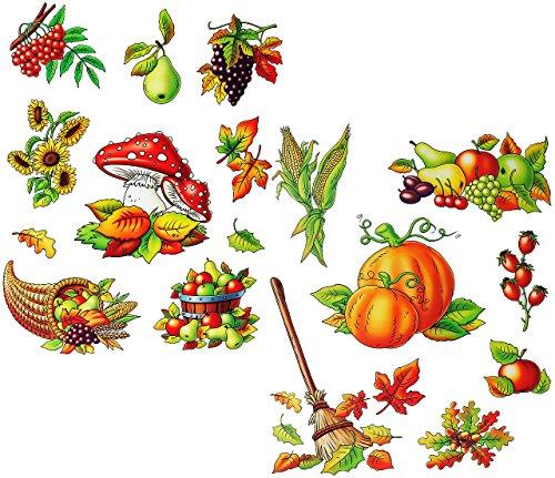 alles-meine.de GmbH 2 versch. Bögen: Fensterbilder  Herbst - Früchte & Blätter  - Blätter / Eicheln Kastanien - Pilz / Kürbis / Eicheln sammeln - Laubblätter - statisch haftend..