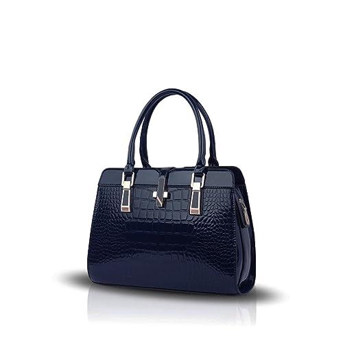 ad24cb35b Nicole&Doris Ladies Handbags New Fashion Patent Leather Shell Portable  Shoulder Messenger Bag for Women(Navy