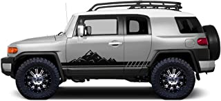 Factory Crafts Mountain Side Stripe Graphics Kit 3M Vinyl Decal Wrap Compatible with Toyota FJ Cruiser 2007-2014 - Matte Black