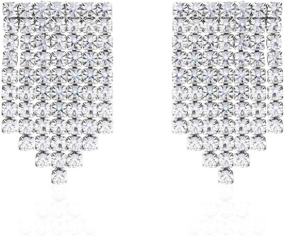 Stroili  orecchini per donna pendenti multifilo in metallo rodiato con strass 1668690