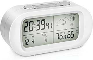 Digital Alarm Clock, EIVOTOR Temperature Hygrometer Monitor with LCD Back-light Day Date and Moon Phase, Snooze Desktop Weather Clocks Sleep Timer for Kids Office Bedroom Dormitory - White