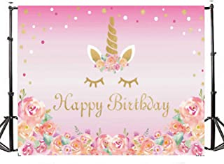 TMOTN 7x5ft Photography Backdrop Unicorn Birthday Party Photo Background Flowers Roses Cute Stars Smiling Face Baby Shower Unicorn Head Sweet Pink Girls Photo Portrait Studio D1682