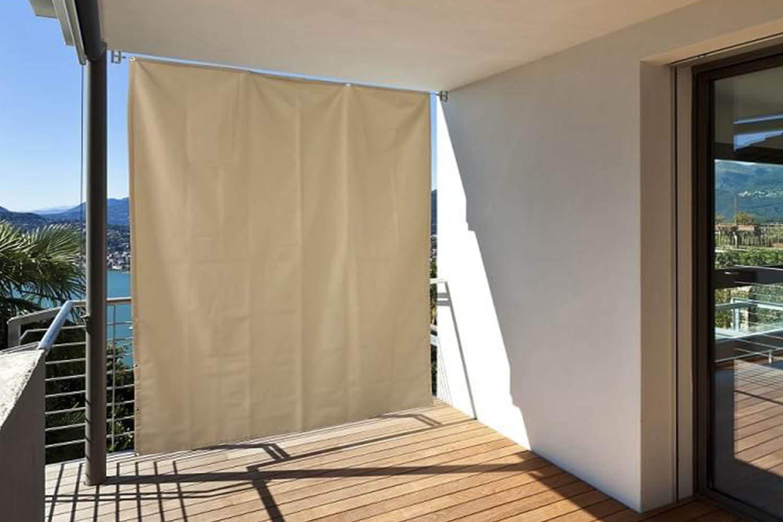 empasa - Biombo Exterior Vertical para balcón con Ojales + Cuerda, 230 x 140 cm, Crema: Amazon.es: Jardín