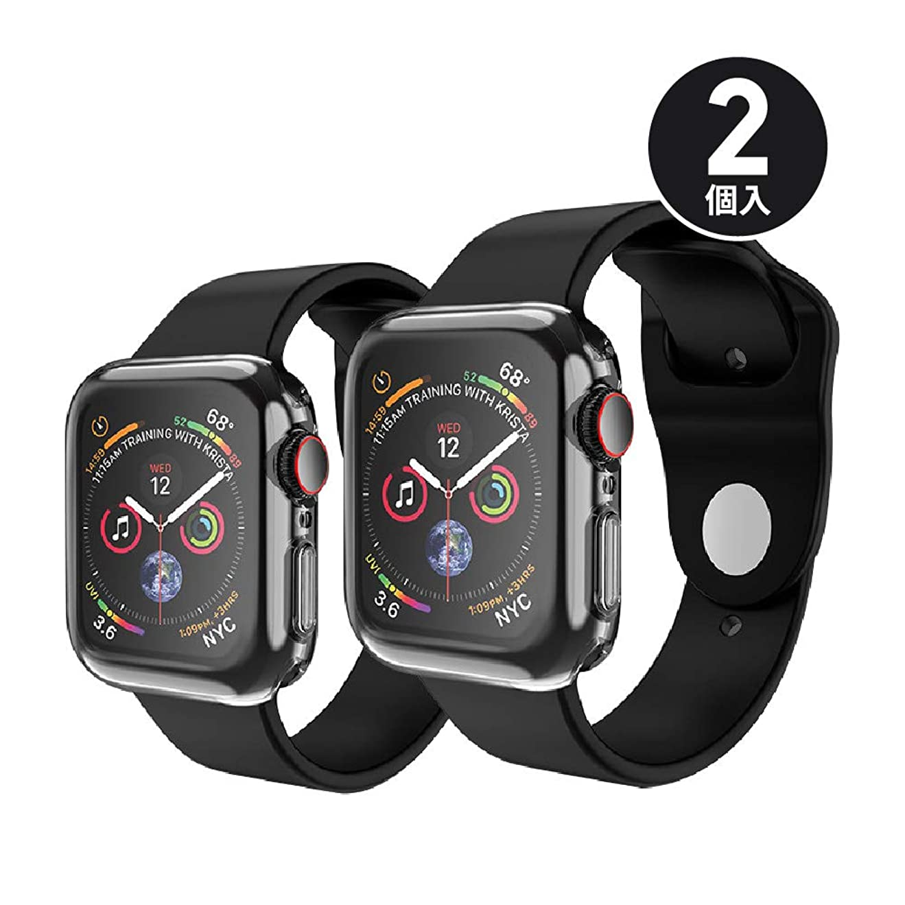 違法尊敬するリマーク【2個入】 ShotR Apple Watch Series 4 44mm ケース 柔らかい TPU ウォッチ 保護ケース超薄型カバー アップルウォッチシリーズ 4 44mm (2枚)