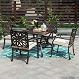 PHI VILLA Outdoor Patio Cast Aluminum Extra Wide Chairs with Cushion...