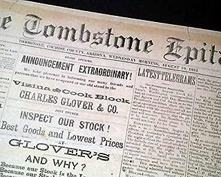 Rare TOMBSTONE EPITAPH Pre Gunfight at the O.K. Corral AZ Arizona 1881 Newspaper THE TOMBSTONE EPITAPH, Arizona, August 10, 1881