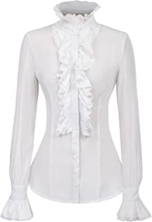 Women Victorian Gothic Ruffled Lotus Shirt Blouse Tops