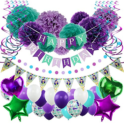 YINVA Mermaid Party Supplies Birthday Party Supplies for Girls 65 Pack Including