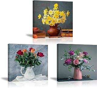 PIY Painting S op Canvas Geel Narcissus Kleurrijke Rozen Bloemen Muur Art, Elegante Vaas Canvas Prints Foto Ingelijst Klaa...