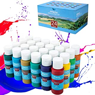 Artecho Acrylic Paint Acrylic Paint Set for Art, 24 Color 2 Oz Basic Acrylic Paint Supplies for Wood, Fabric, Crafts, Canvas, Leather&Stone