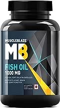 MuscleBlaze Omega 3 Fish Oil 1000 mg (180mg EPA and 120mg DHA) - 90 Softgels