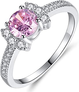 HYLJZ Anello Fashion Women White Gold Color Bow Flower Pink Crystal Cz Band Ring