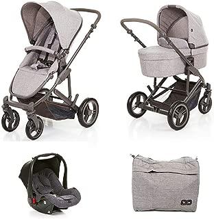 Kit Carrinho Moisés COMO 4 com Bebê Conforto + Bolsa Wover Gray (Det. Couro) - ABC Design
