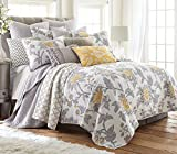 Reverie King Cotton Quilt Set, Grey, White, Yellow, Floral