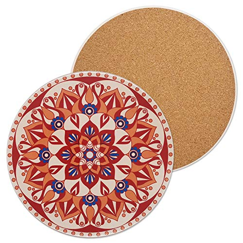 Salvamanteles de piedra de cerámica para ollas calientes y sartenes, alfombrillas resistentes al calor con hermoso patrón de mandala y base de corcho a prueba de arañazos,...