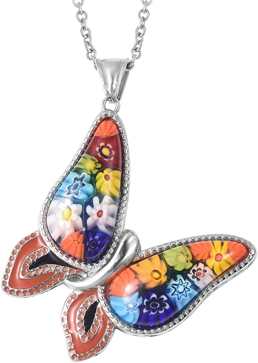Shop LC Butterfly Flower Pendant Murano Millefiori Glass Chain Fashion Necklace Stainless Steel Delicate Jewelry Gifts for Women Unique (Multi Color/Green)