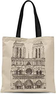 Semtomn Canvas Tote Bag French Cathedral of Notre Dame De Paris France Vintage Durable Reusable Shopping Shoulder Grocery Bag