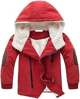 Boys Winter Hooded Down Coat Jacket Thick Wool Inside Kids Warm Faux Fur Outerwear Coat
