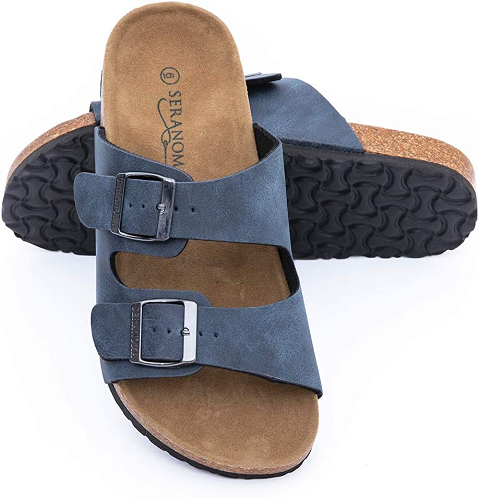 Seranoma Slide Sandals for Women - Comfortable Slip On Cork Footbed Sandals with Adjustable Buckles - Ladies Slip-Resistant Platform Summer Flat Sandals for Beach, Home, Indoor and Outdoor Use