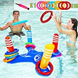 MOMOK Inflatable Ring Toss Pool Game Toys, Floating Water Games for Adults & Kids with 10PCS Throwing Rings Play for Multiplayer Family Summer Swimming Pool Beach Party Indoor Outdoor