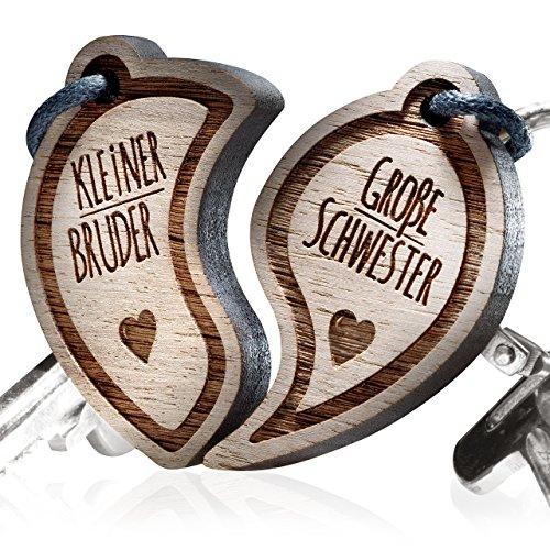 """schenkYOU Schlüsselanhänger aus Holz - Gravur""""Kleiner Bruder - Große Schwester"""""""