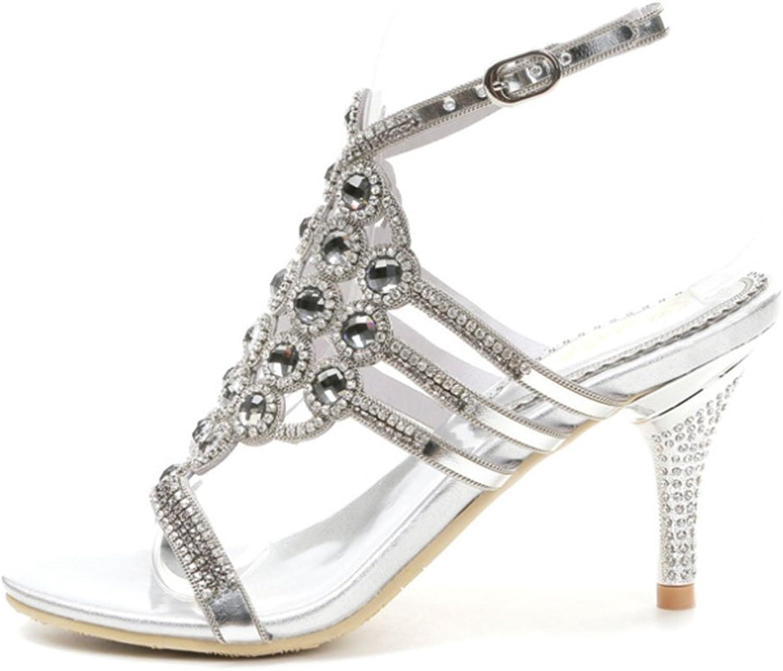 New Damen Sommer Sexy Hochhackige Schuhe mit Runder Kopf Kopf Kopf Durchbrochen Strass Schnalle mit Offene Sandalen, Silber, US10.5 – UK8.5 CN43  f4d567