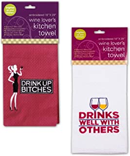 Chriss Stuff Wine Lovers Funny Quote Embroidered Cotton Dishtowel Set of 2 Tea Towels (Drink Up)