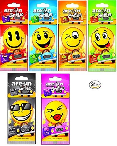 Areon – Smile Auto-Lufterfrischer zum Aufhängen, Smiley-Gesicht, Gelb, 24 Stück (6 x 4 Stück)
