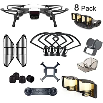 AsiaToy 8 Pack Combo Compatible with Spark Propeller Gimbal Camera Finger Joystick Motor Guard and Lens Hood