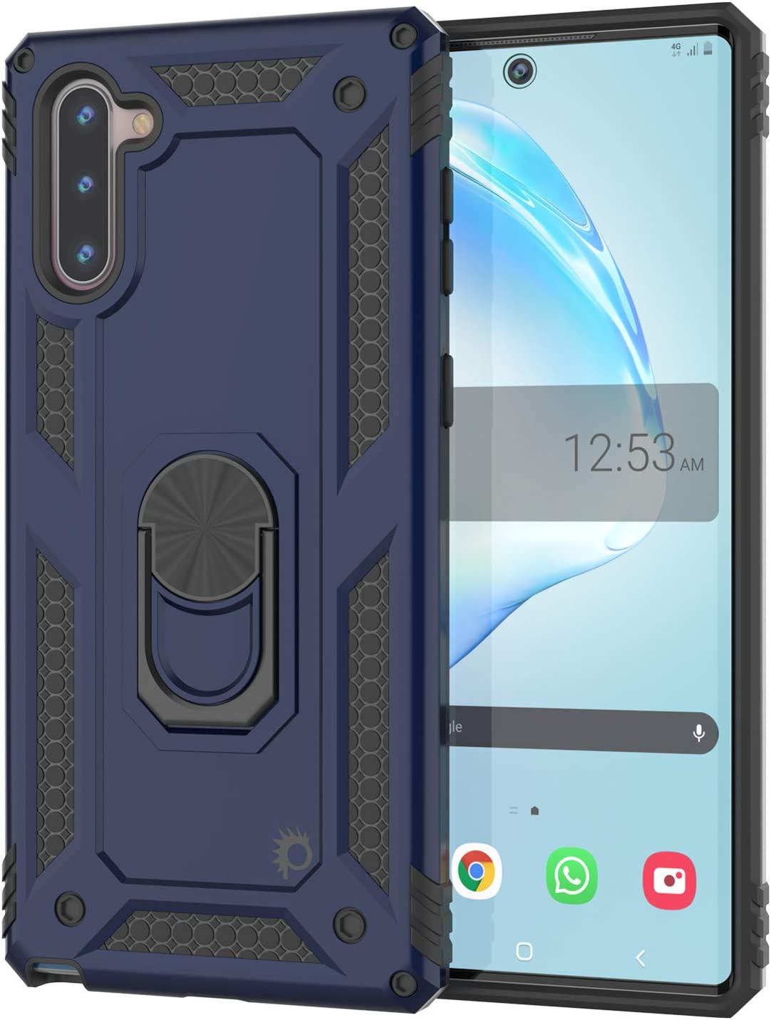 Punkcase Galaxy Note 10 Case [ArmorShield Series] Military Style Protective Dual Layer Case W/Metal Ring Grip Holder & Kickstand l TPU Bumper | Full Body Protection for Samsung Note 10 (6.3