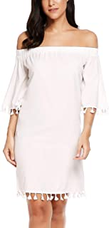 ACEVOG Women's Off Shoulder Tassel Boho Casual Loose Tunic Dress