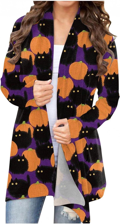 Halloween Cardigan for Women Lightweight Plus Size Long Sleeve Soft Cute Pumpkin Black Cat Ghost Open Front Coat