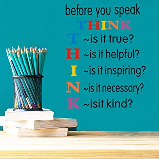 TOARTi Colorful Inspirational Quotes Wall Decals, Before You Speak Think Wall Stickers, Positive Saying Vinyl Wall Art for Kids Room Classroom Decor