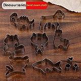 ADGNO Set di Formine per Biscotti per Conigli Acciaio Inossidabile Set 6 Pezzi di Coniglio Dinosauro Giraffa Tre Serie,Dinosaur