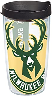Tervis NBA Milwaukee Bucks Colossal Tumbler with Wrap and Black Lid 16oz, Clear
