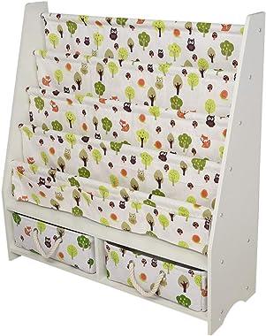 ETHY Kids Bookshelf Children's Magazine Rack Storage Bookcase with Drawer, White, for Living Room, Bedroom, Study Room