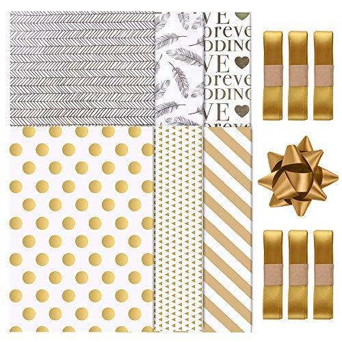 SHOKUTO 6 Bögen Weihnachts-Geschenkpapier (70 x 50 cm), 6 gefaltete Bögen Goldstempel-Geschenkpapier mit 6 Geschenkbändern (1,5 cm x 2 m) für Geburtstag, Hochzeit, Valentinstag, Babyparty
