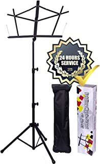 GLEAM Music Stand Bold Pipe Folding Music Holder with Carrying Bag