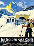 A SLICE IN TIME The Golden Pass Route M.O.B. RLY. Switzerland Swiss Suisse Europe European Vintage Railroad Travel Advertisement Art Poster Print. Poster Measures 10 x 13.5 inches