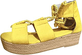 Hot Women's Strappy Criss Cross Open Toe Mid Heel Sandals Too Wedge Sandal Comfort Ankle Elastic Footbed Wedge Sandal