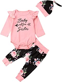 Infant Baby Girls Pants Outfit Pink Ruffled Long Sleeve Romper Tops Floral Pants Hat 3PC Autumn Clothes Girl