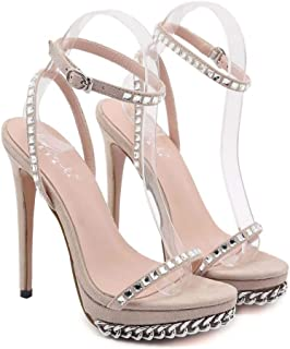 Summer Buckle High-heeled Sandals, Fine-heeled Suede Sandals with Metal Chain, Rubber Sole Material Ladies Shoes