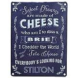 Placa de pared hecha de metal, estilo retro, con texto en inglés–Brie, queso Cheddar, queso Stilton–regalo para un amante del queso