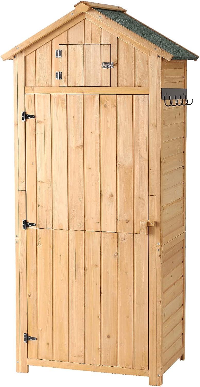 B BAIJIAWEI Garden Storage Shed - Outdoor Wooden Tool Storage Cabinet - Arrow Tool Shed Organizer Fir Wood Lockers for Home, Lawn, Yard