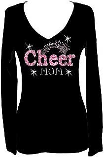 Cheer Mom Rhinestone Sports Bling V Neck Long Sleeve Tee Shirt