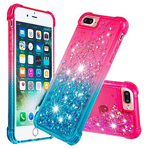 Dclbo - Carcasa para iPhone 6 Plus/iPhone 6S Plus/iPhone 7 Plus/iPhone 8 Plus, funda con purpurina líquida, Rosa und Blau
