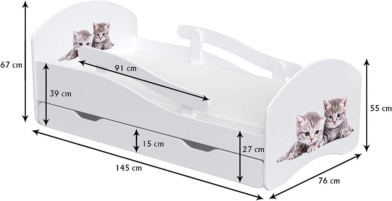 Childrens Beds Home Einzelbett Oscar F/ür Kinder Kinder Kleinkind Junioren Ohne Schubladen Ohne Matratze 140x70, Wei/ß